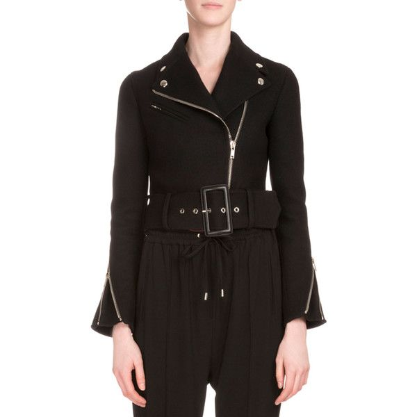 Givenchy Asymmetric-Zip Belted Felt Biker Jacket ($2,900) ❤ liked on Polyvore featuring outerwear, jackets, black, cropped motorcycle jacket, biker jackets, asymmetrical zip moto jacket, belted jacket and moto jackets