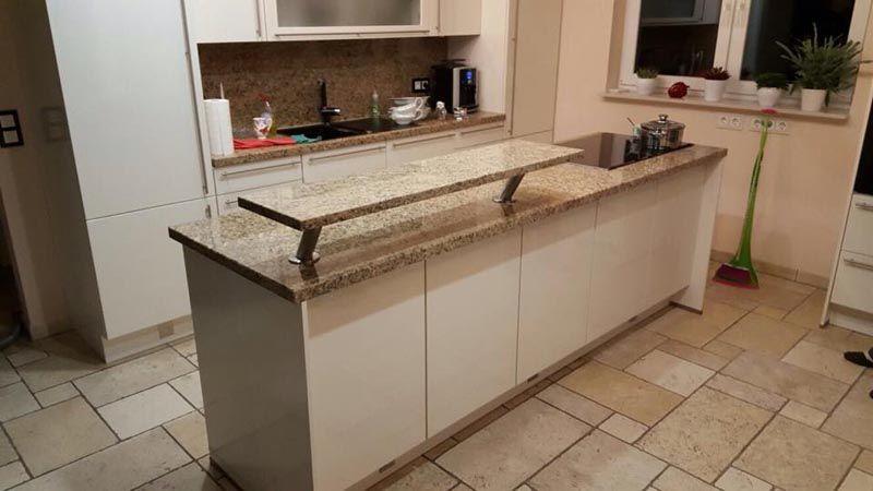 Montage der #Giallo #Veneziano #Küchenarbeitsplatte aus #Granit in - küchenarbeitsplatte aus granit