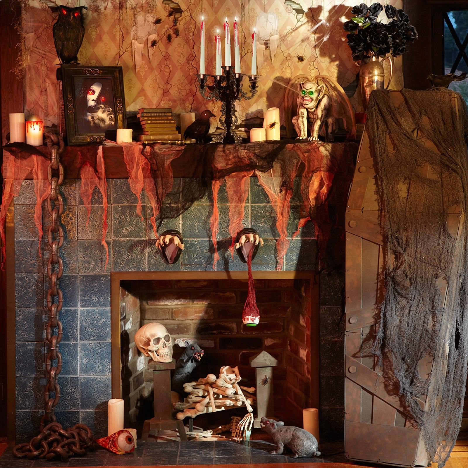 dungeon of terror coffin prop piles of bones chains hands mounted on plaques halloween. Black Bedroom Furniture Sets. Home Design Ideas