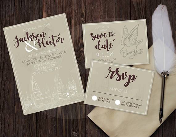 Harry Potter Themed Wedding Invitation Rsvp Save The Date Dyi Template