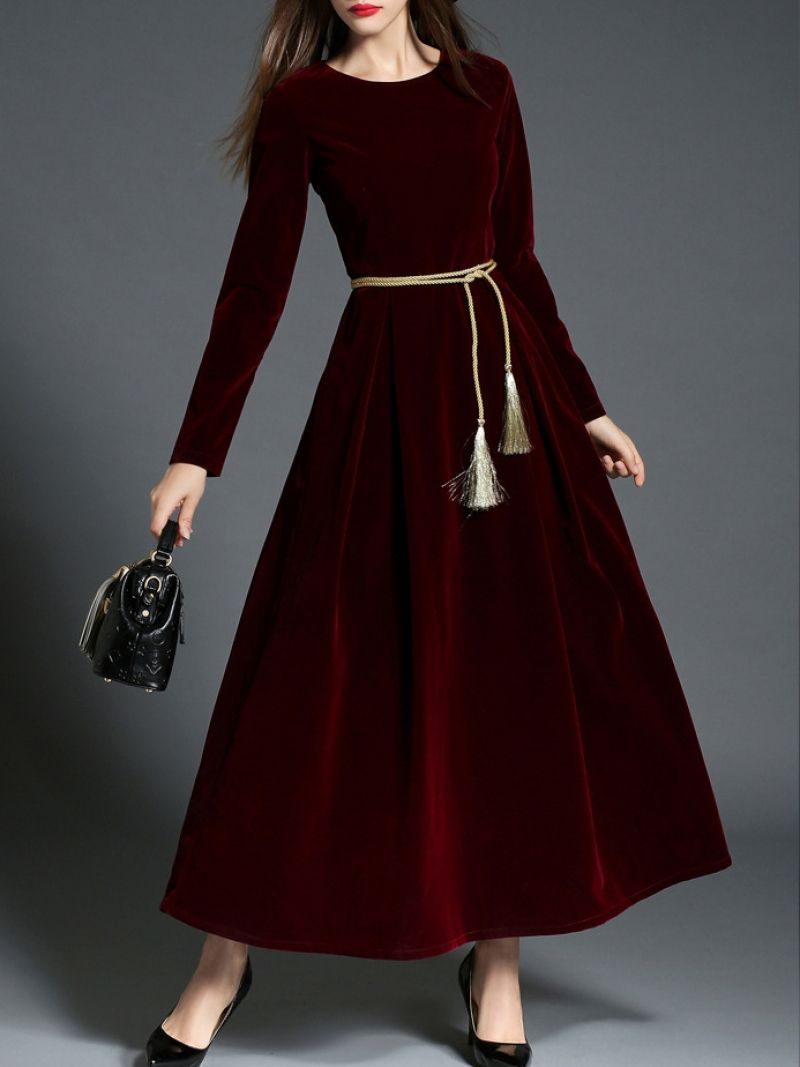 0a764ec034 Burgundy Tie-Waist Velvet Maxi Dress -SheIn(abaday)