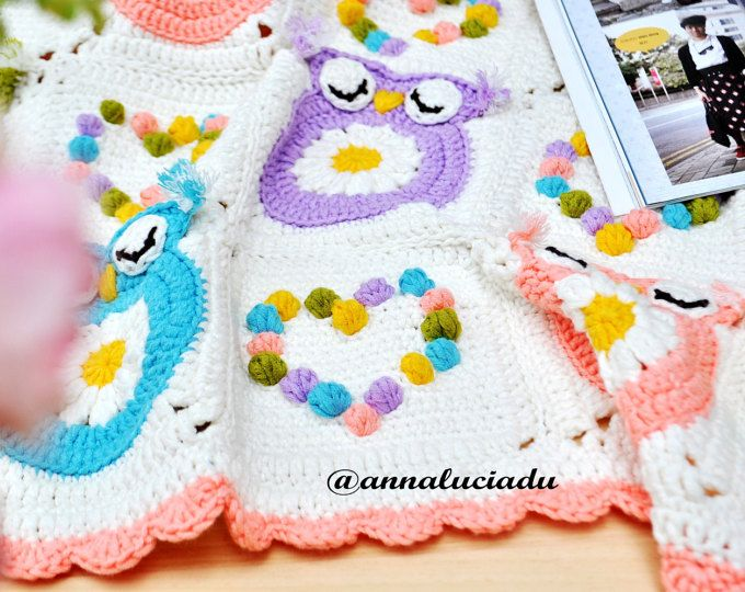 Owl Obsession , colorful owl blanket pattern, crochet owl pattern ...