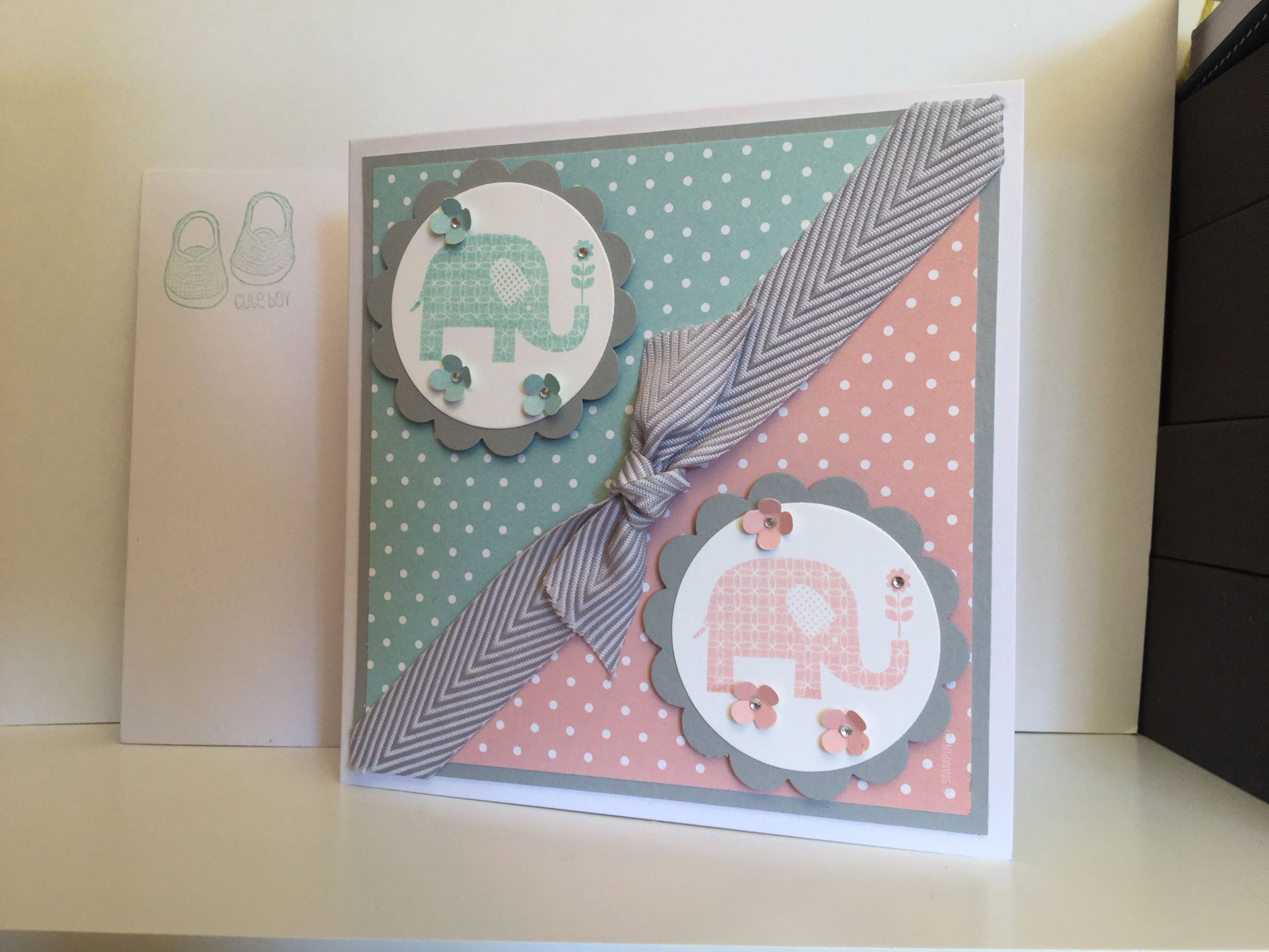 baby card for twins  boy and girl made from stampin up