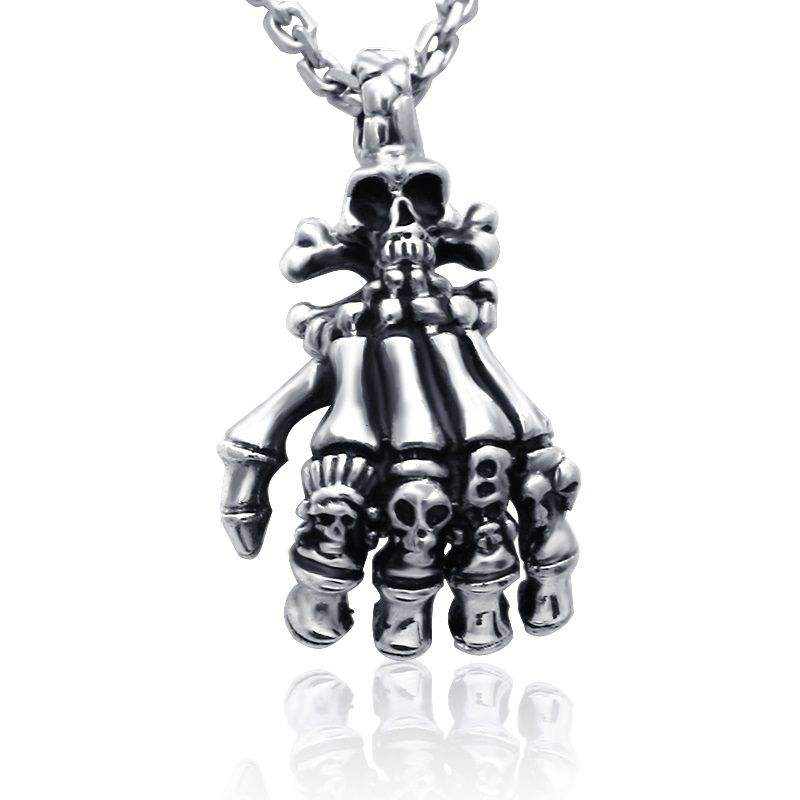 Men's Silver Skull Claw Skeleton Pendant Gift for Boyfriend Necklace from Yoyoon.com