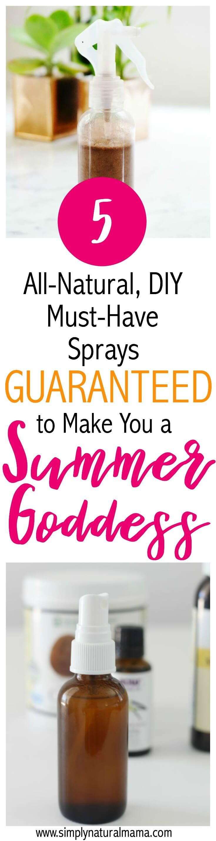 Wow! I am so excited for summer and this blog post was just perfect! All I need to do is make every one of these sprays, and I will be all set for the summer months... sunscreen, after sun spray, you name it! via @simplynaturalma