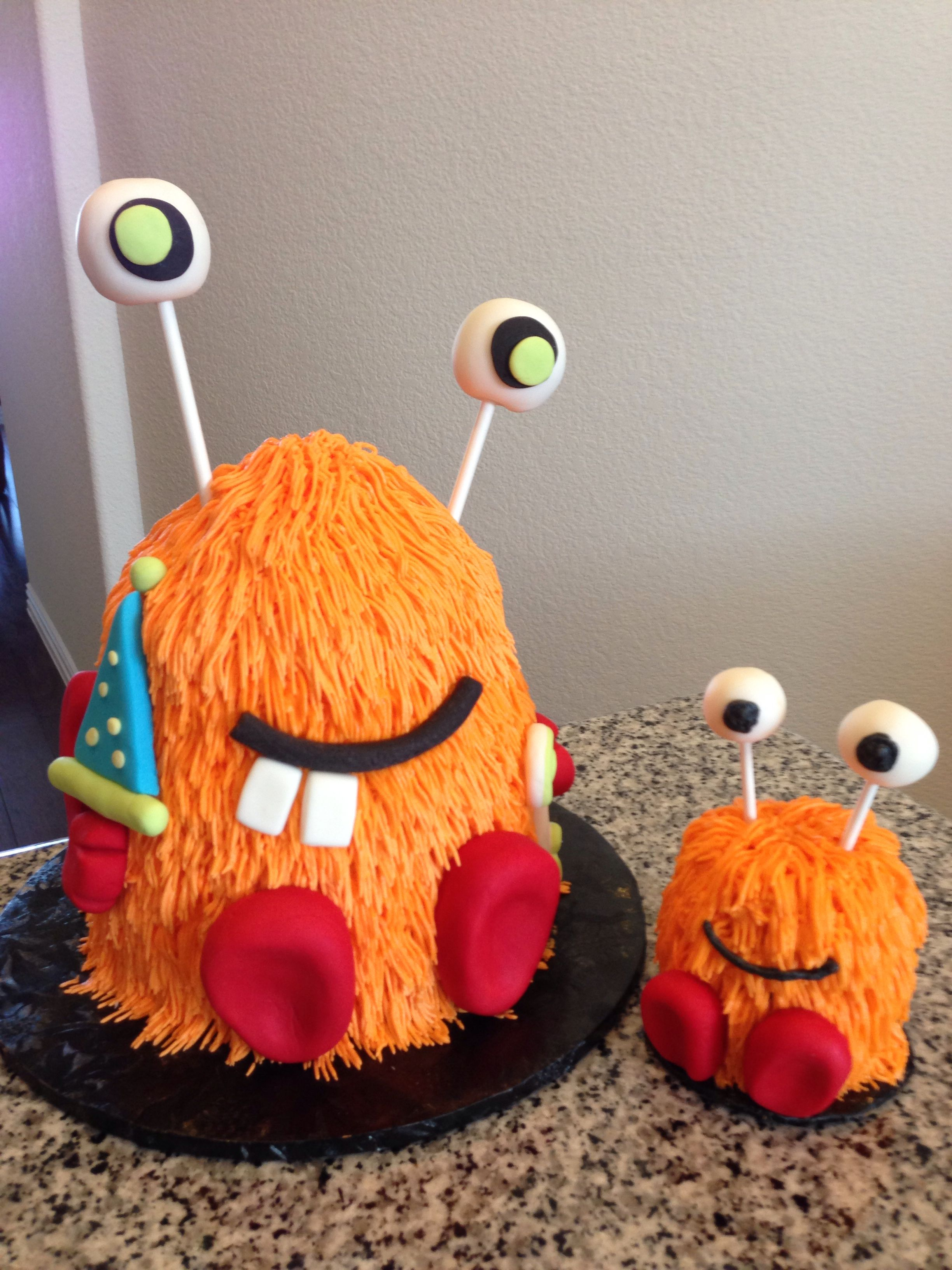 Superb Monster Birthday Cake With Little Monster Smash Cake By Susan Ward Birthday Cards Printable Giouspongecafe Filternl