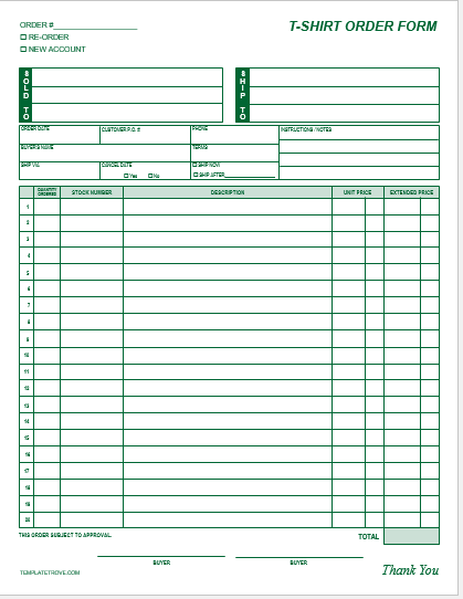 T Shirt Order Form Template Blank 2 T Shirt Order Forms