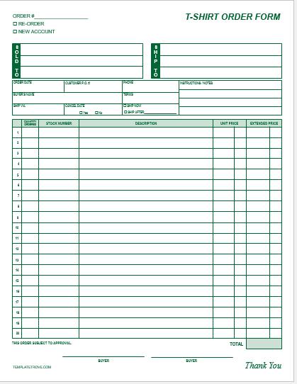 TShirt Order Form Template Blank   TShirt Order Forms