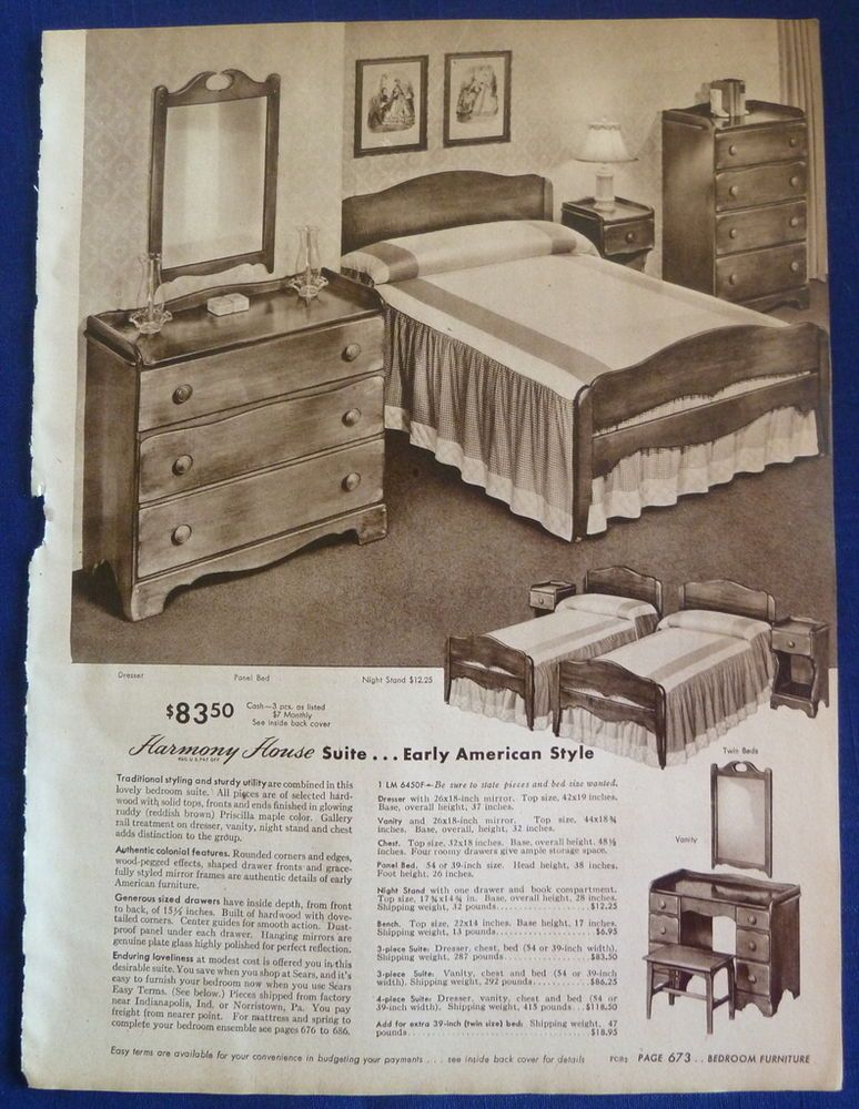 1940s Sears furniture ad | Furniture, Bedroom furniture, Bedroom