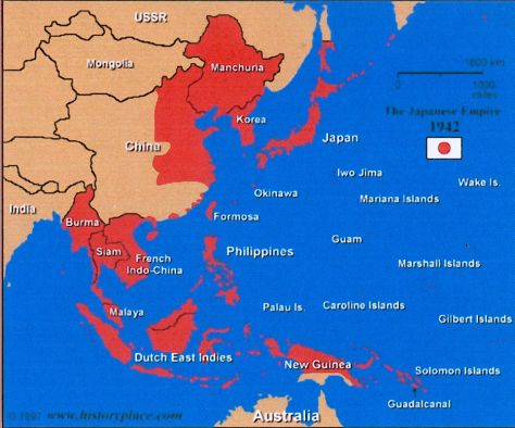 This map shows the Japanese Empire in 1942. In red, it shows that ...