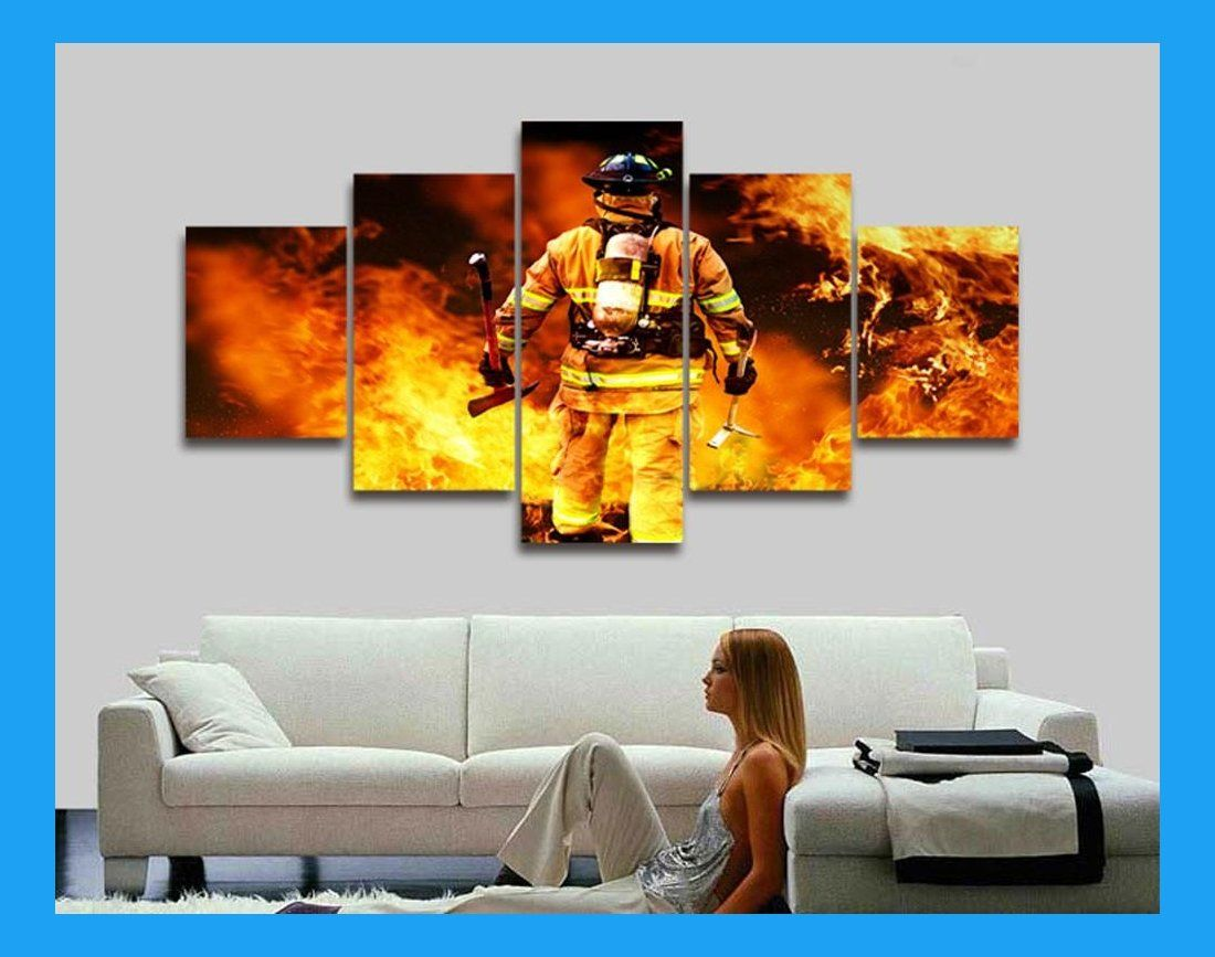 Brave Firefighter 5 Piece Canvas Canvas Canvas Pictures Wall Art