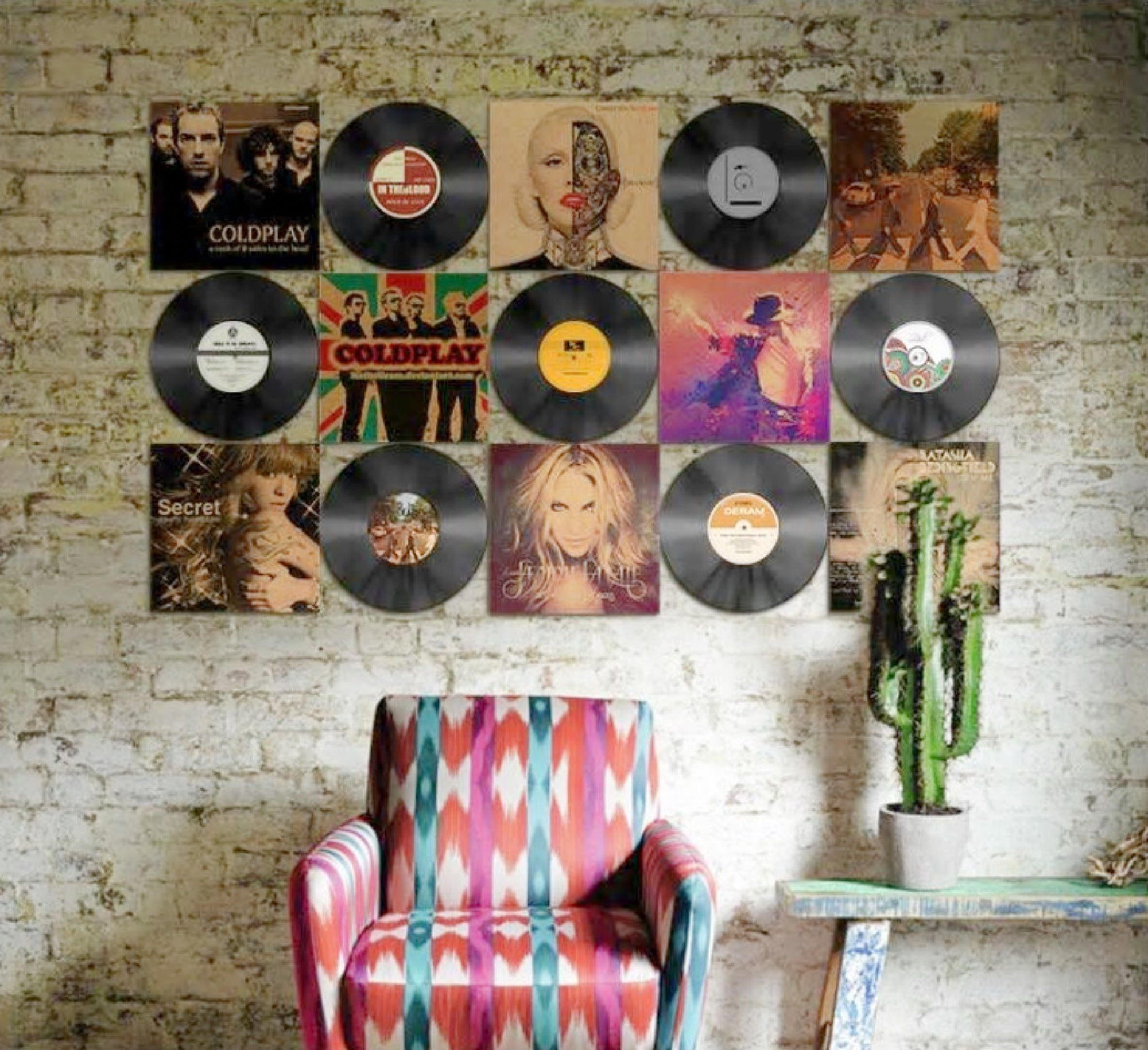 Vinyl Record And Album Cover Wall Display Vinyl Records Decor Vinyl Room Vinyl Decor