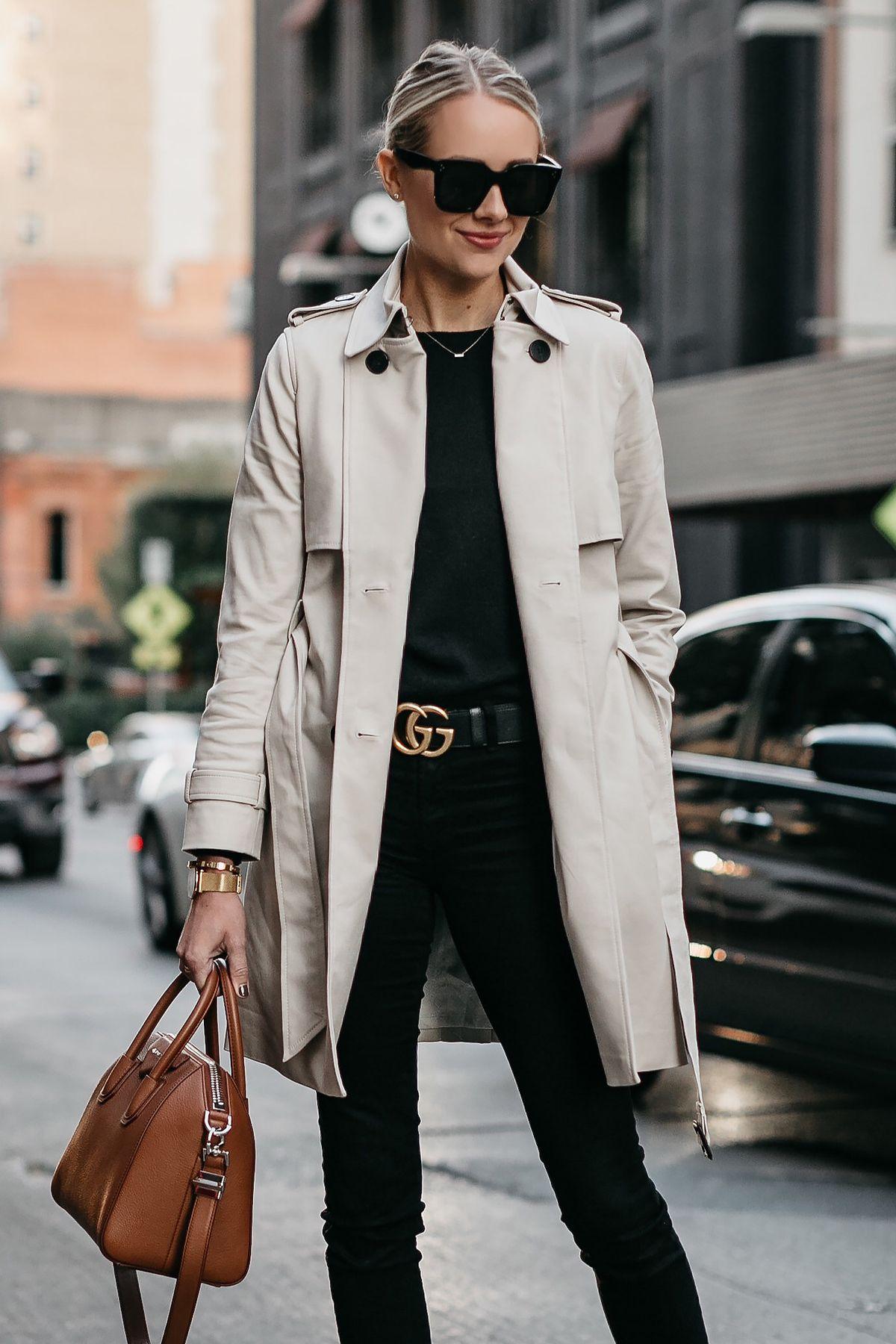 8140aecd5b2d8 Blonde Woman Wearing Club Monaco Trench Coat Black Sweater Black Skinny  Jeans Gucci Marmont Belt Givenchy Antigona Cognac Satchel Fashion Jackson  Dallas ...
