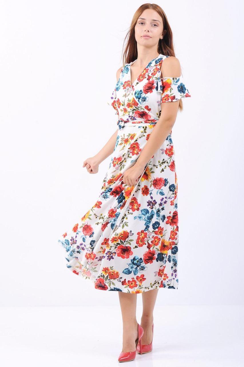 Omuz Acik Mavi Cicekli Beyaz Midi Elbise Giyim Indirim Kampanya Bayan Erkek Bluz Gomlek Trenckot Hirka Etek Yel Midi Elbise Elbise Elbise Modelleri