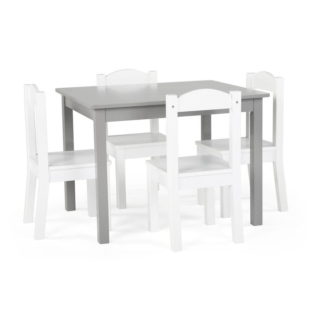 Tot Tutors Inspire 5 Piece Grey White Kids Table And Chair Set Tc770 In 2020 Wooden Table Chairs Kids Table Chair Set Kid Table