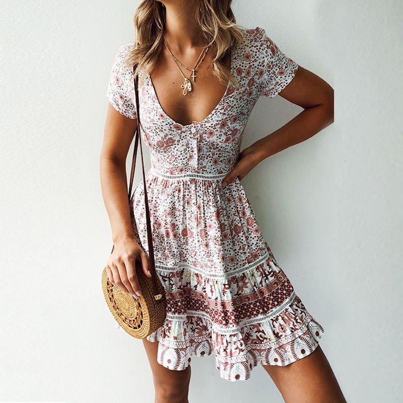 A-Line Bohemian Floral Dress Sexy V-neck Short Sleeve Mini Dress #dressoutfits