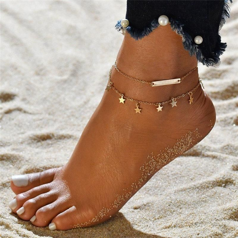 Tassel Chain Gold Color Bracelets Anklets For Women Summer Beach Foot Jewelry