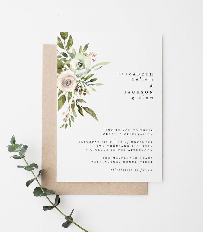 Simple wedding invite with floral watercolor detailing | Junebug Weddings