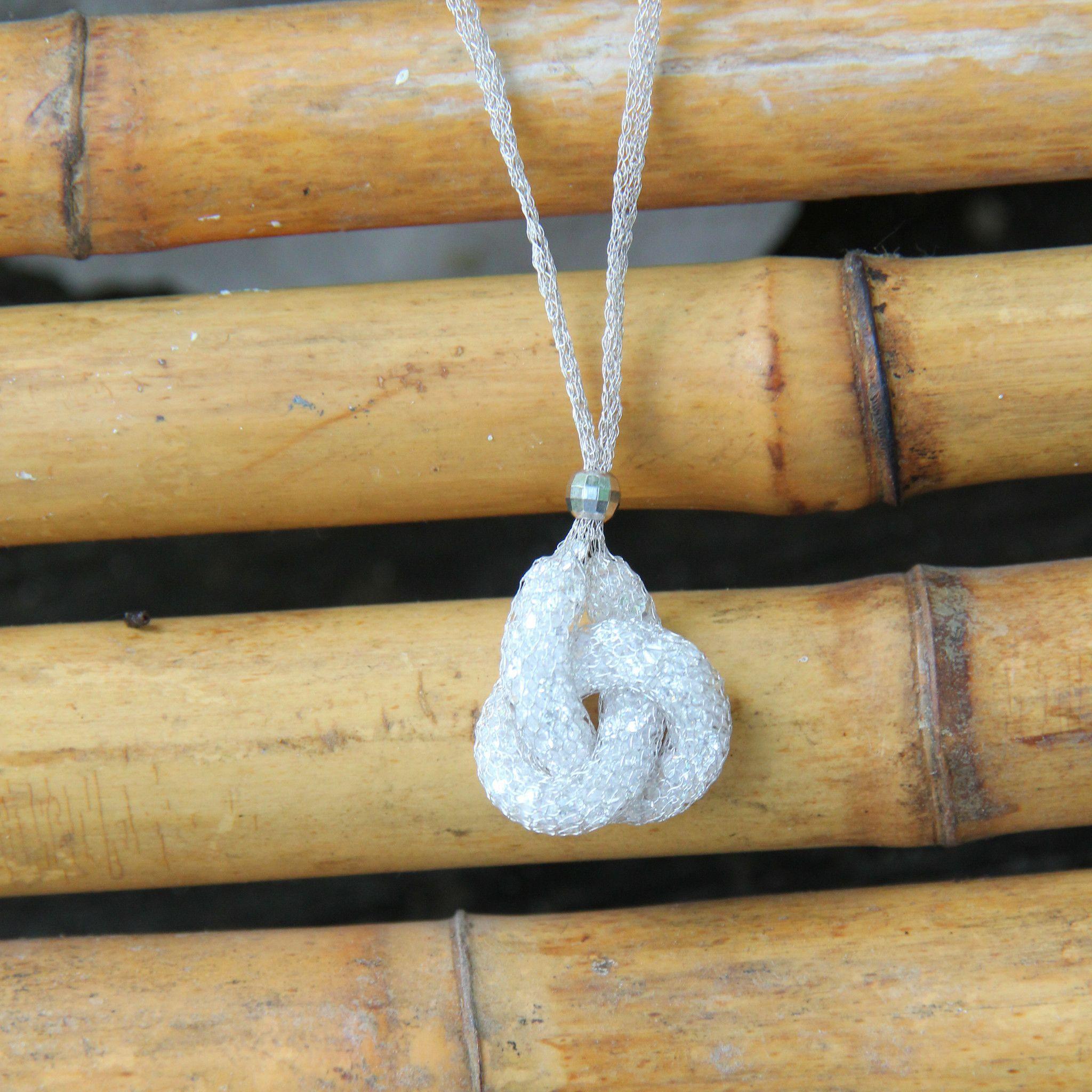 No28 Silver Italian Mesh Knot Necklace