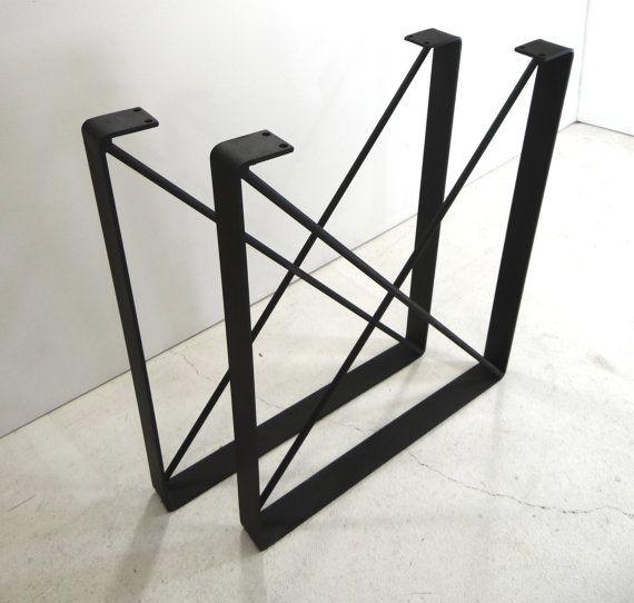 SET of 2 Metal Dining Table Legs U Shaped Industrial Steel