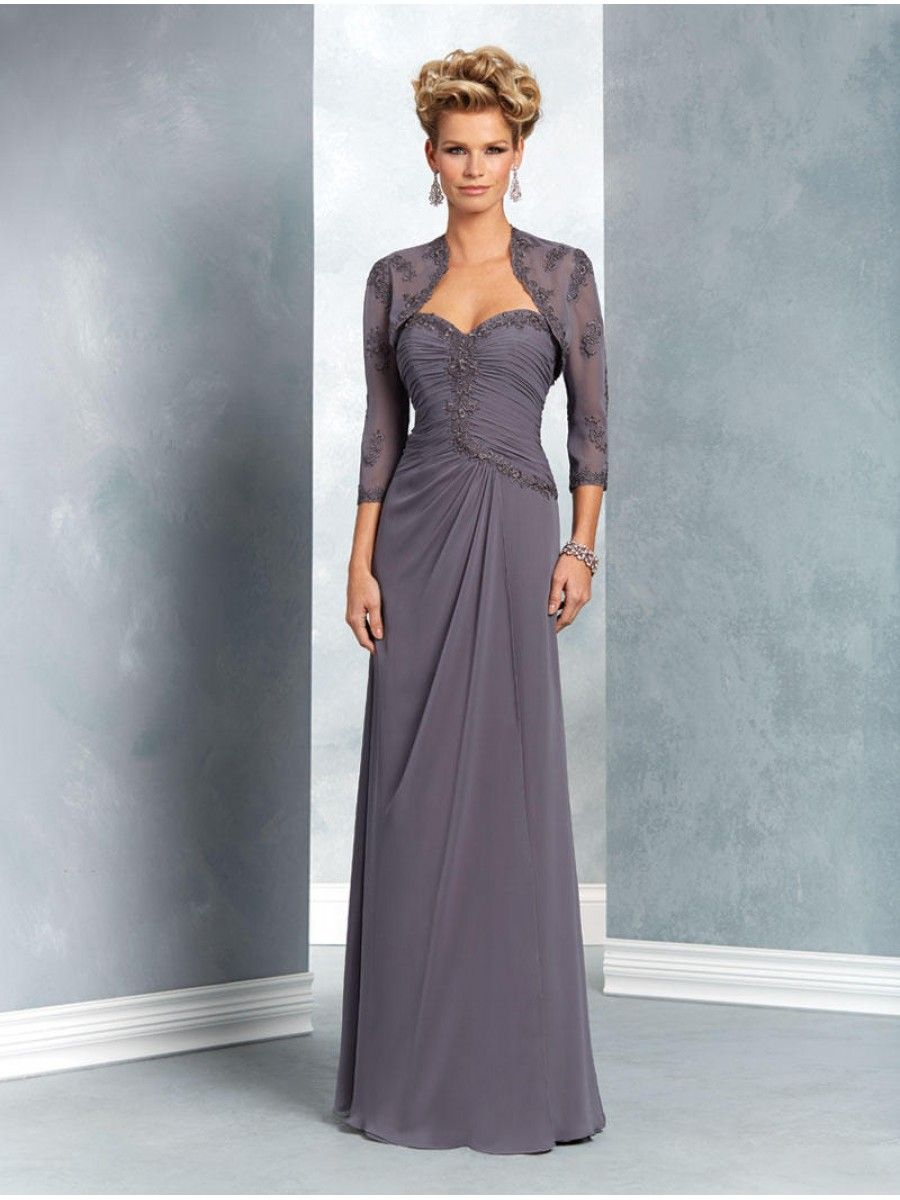 Long Sweetheart Chiffon Mother of The Bride Dresses with A Jacket ...
