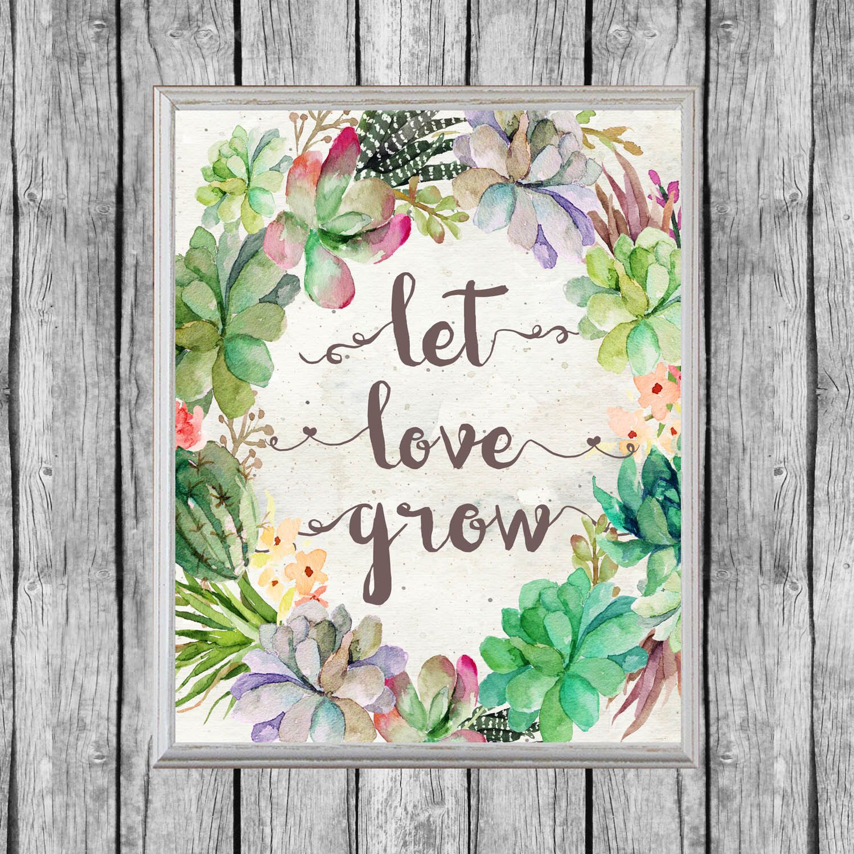 Let Love Grow Sign. Succulent Favors Sign 8x10, Digital File ...