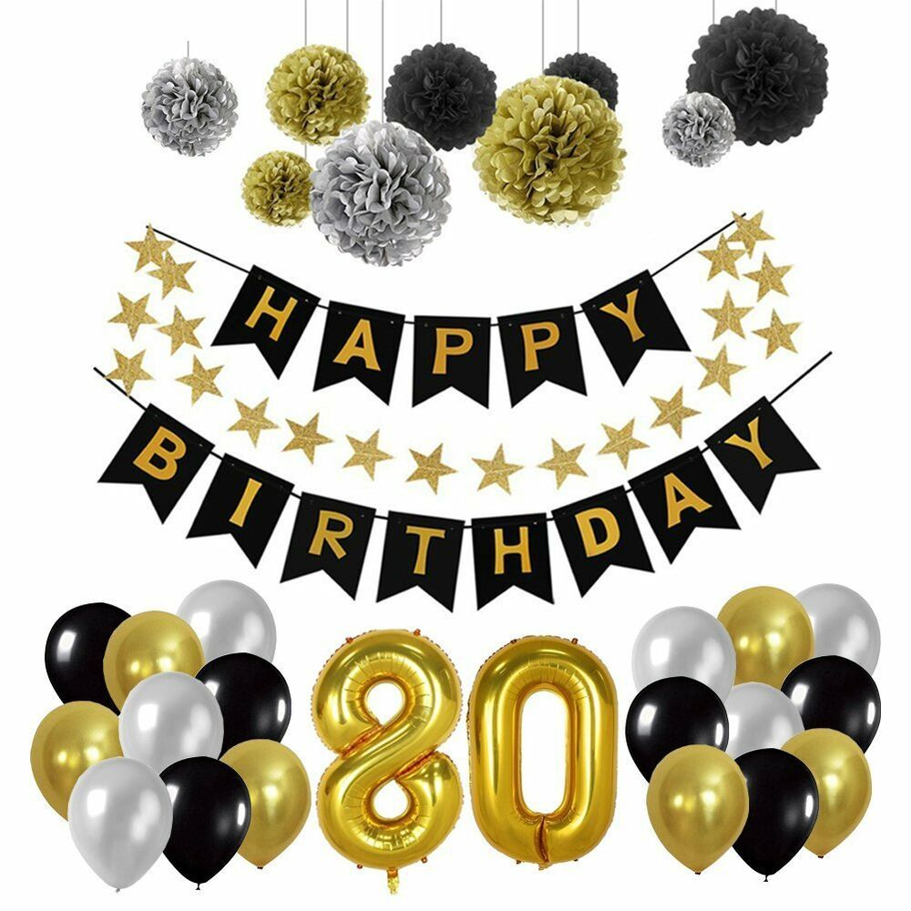 80th Birthday Black And Silver Hanging Number Decorations Pack Of 6