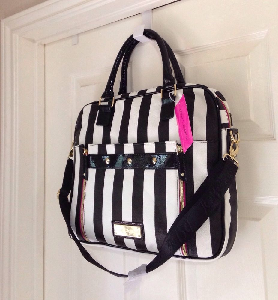 BETSEY JOHNSON Stud Front Double Zip Candy Stripe Laptop Briefcase #BetseyJohnson #LaptopCase