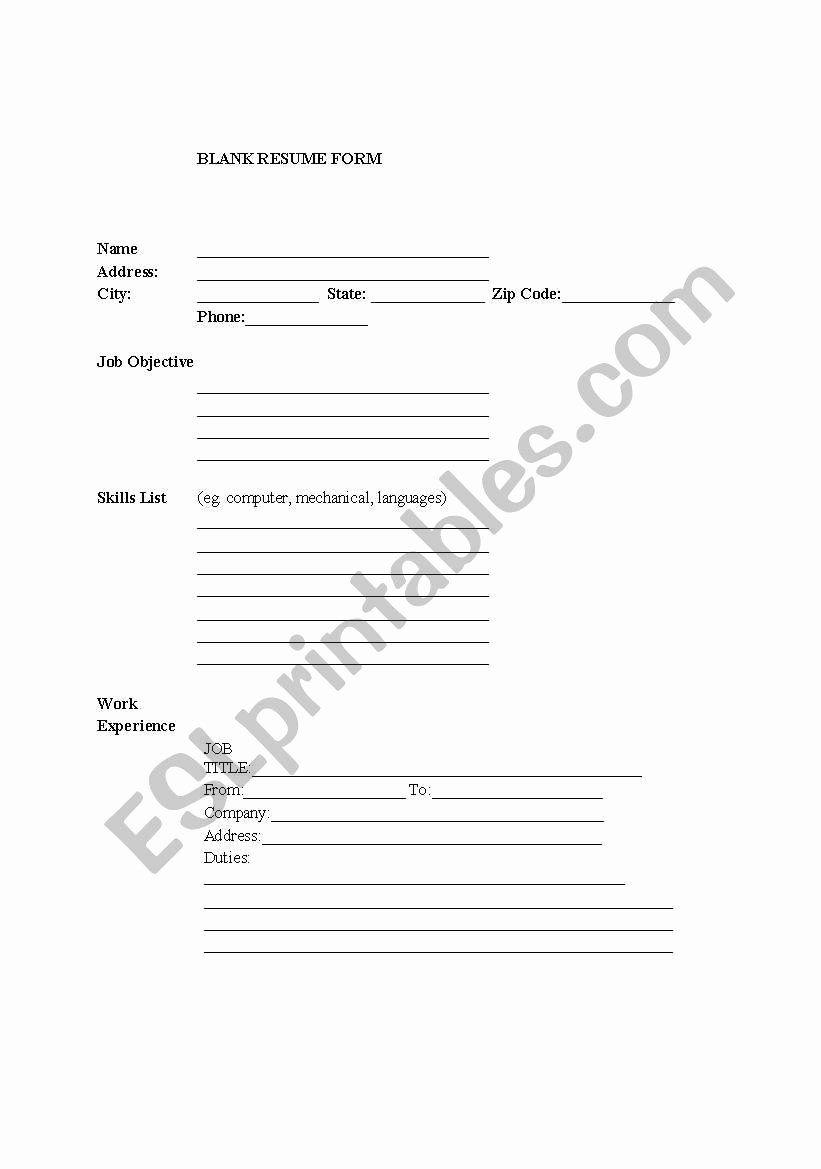 Fill In The Blank Resume Worksheet Elegant Blank Resume Form For Esl Job Seekers Esl Worksheet By Resume Resume Form Worksheets