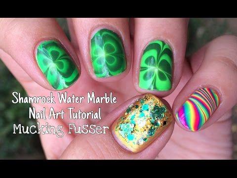 Shamrock Water Marble Nail Art Tutorial Youtube Stylin Nails