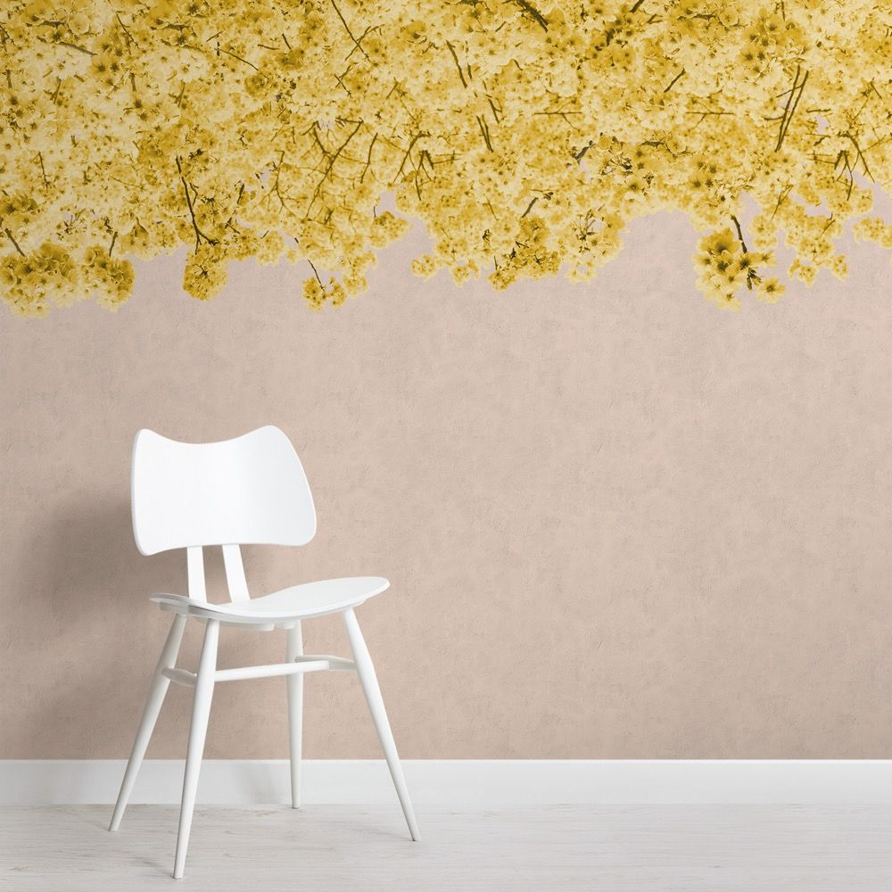 Yellow Cherry Blossom Wallpaper Floral Wallpaper Muralswallpaper Tree Wallpaper Mural Cherry Blossom Wallpaper Tree Wallpaper