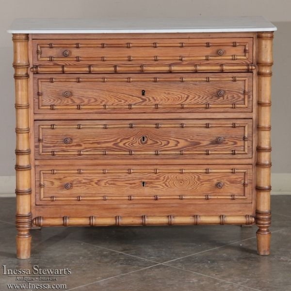 Antique Furniture | Antique Commodes | Country French Commodes | 19th  Century French Faux Bamboo Marble - Antique Furniture Antique Commodes Country French Commodes