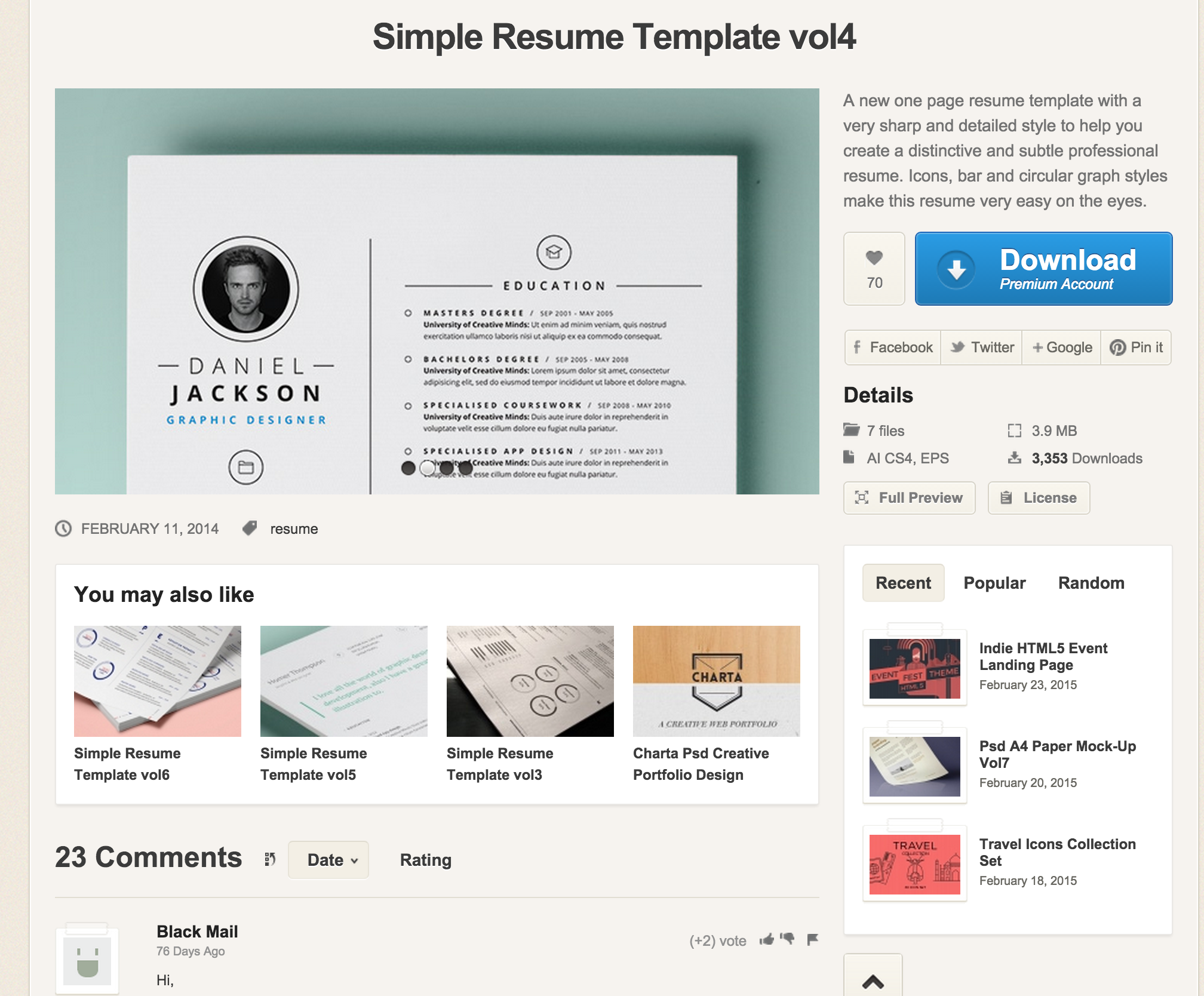 Simple Resume Template Vol  Resumes Templates  Pixeden  Ui