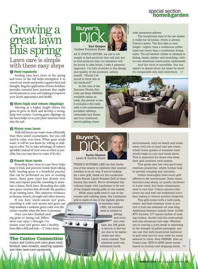 How to get a great lawn this spring with greener healthier grass.  The Costco Connection - March 2014 - Page 35