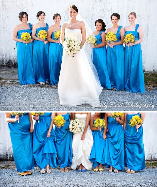 Bright Blue Bridesmaids Dresses And Fun Yellow Bouquets