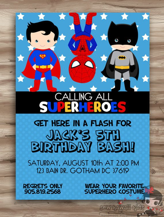 Superhero Birthday Invitation Invite Hero Invit