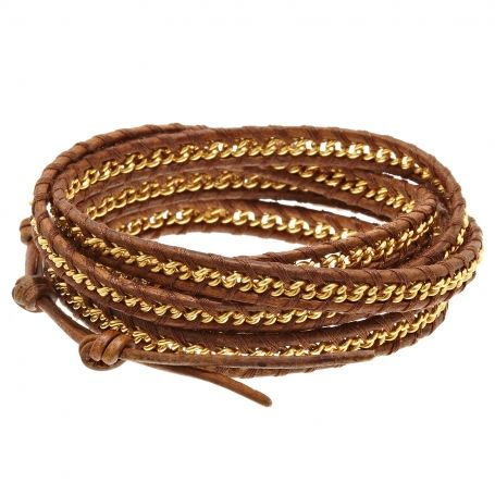 #Chanluu Leather and gold chain bracelet #Vestiairecollective
