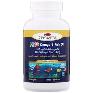 Oslomega زيت سمك نرويجي يحتوي على الأوميجا 3 للأطفال 165 مجم حمض إيكوزا بنتانويك 110 مجم حمض دوكوزا هكسانويك نكهة الفراولة 60 كبسولة هلامية I 젤라틴 딸기 건강한