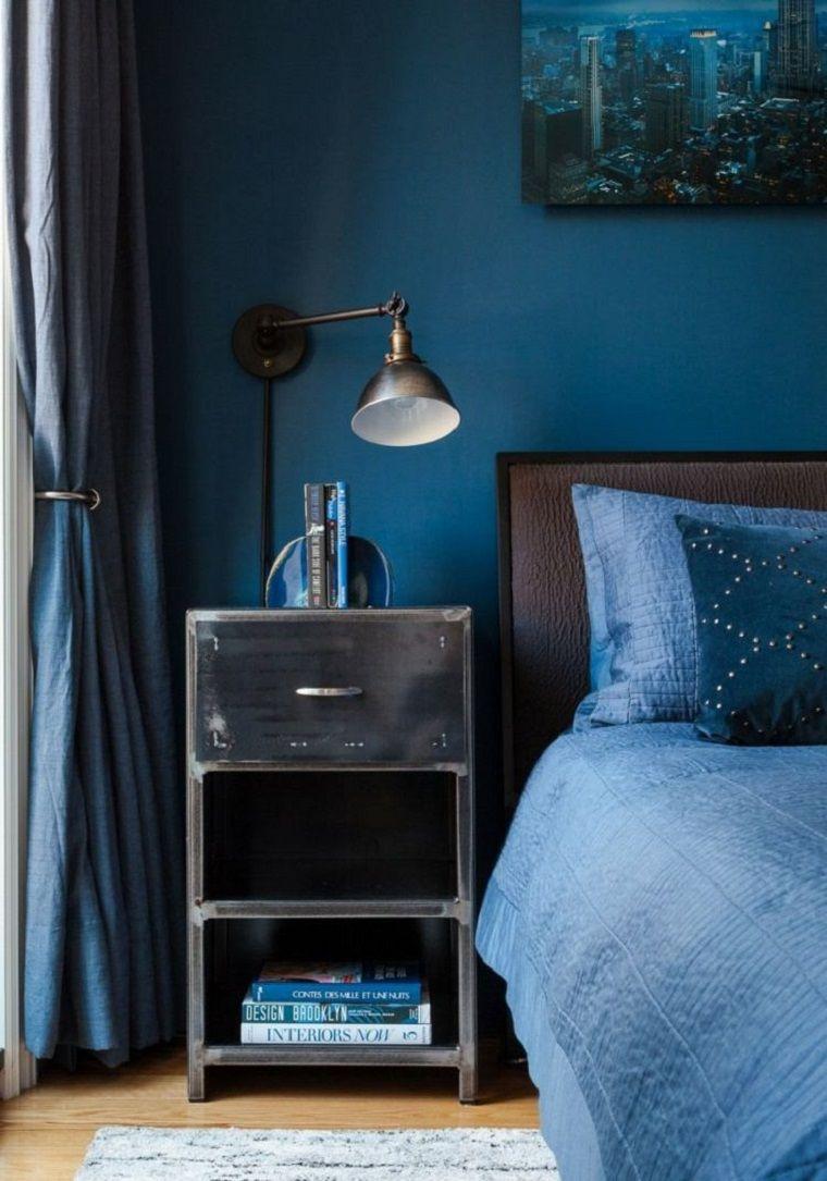 pareti-camera-da-letto-blu-stile-vintage | Industrial ...