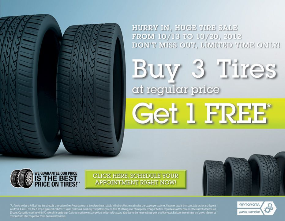 Lowe Toyota Tire Sale Buy 3 Get 1 Free All Things Toyota