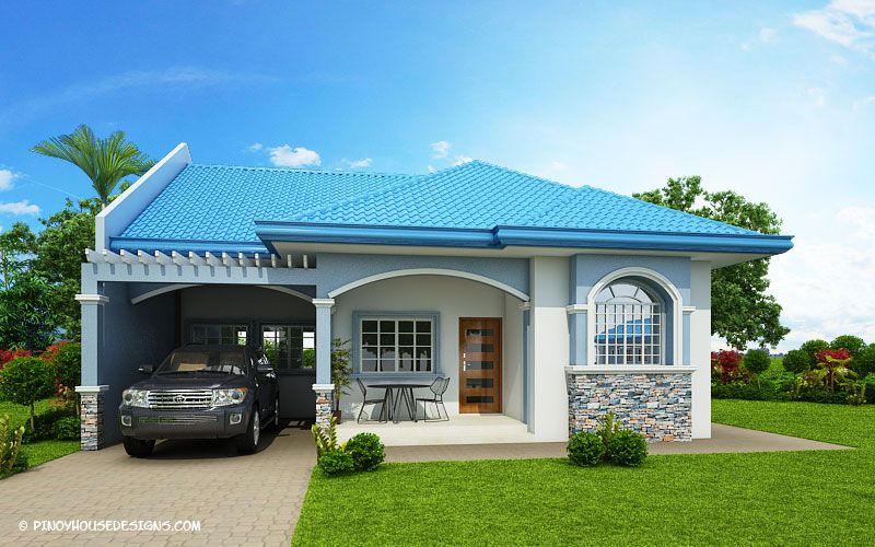 Delightful Three Bedroom Blue Roof House Plan In 2020 With Images