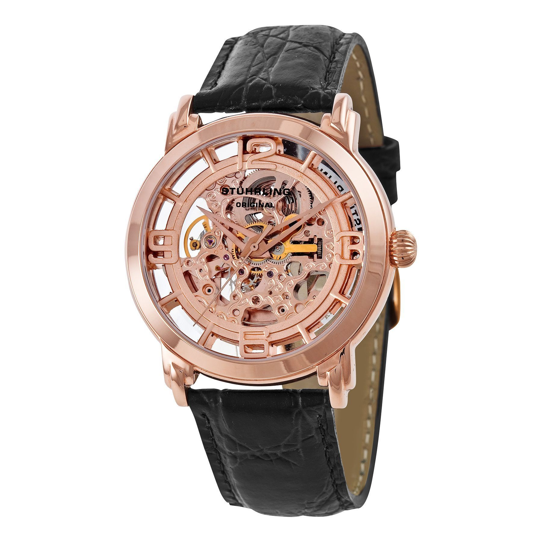 017da9948 Stuhrling Original Winchester Skeleton Rose Gold-Tone Watch Men's ...