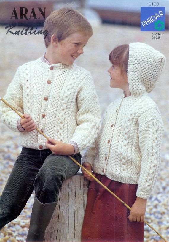 Children\'s 10ply Aran Cardigan & Hooded Cardigan 20-28ins- Phildar ...