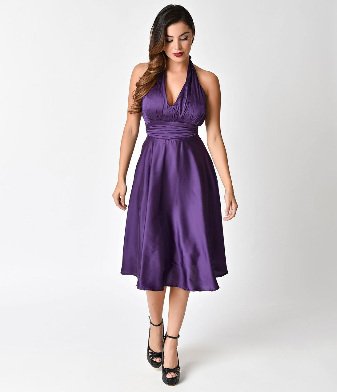 Unique Vintage 1950s Style Purple Satin Halter Hyannis Swing Dress Vintage 1950s Dresses Swing Dress Dresses [ 1275 x 1095 Pixel ]