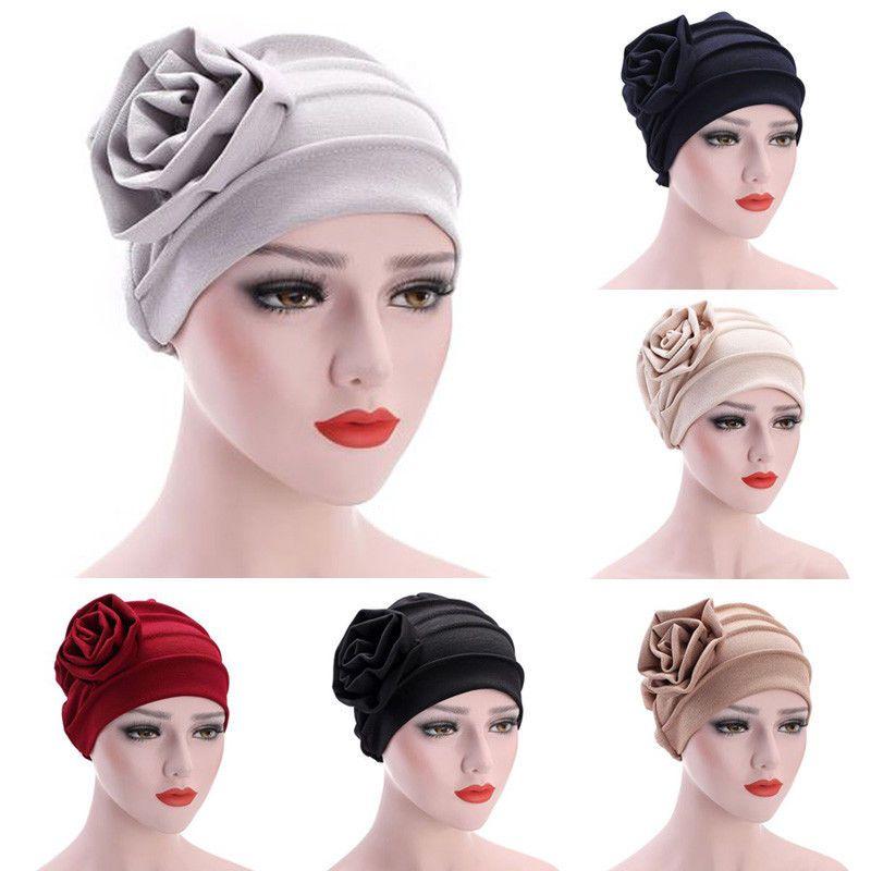 Women Big Flower Turban Head Scarf India Muslim Cap Hijab Ladies Hair Lose Cap