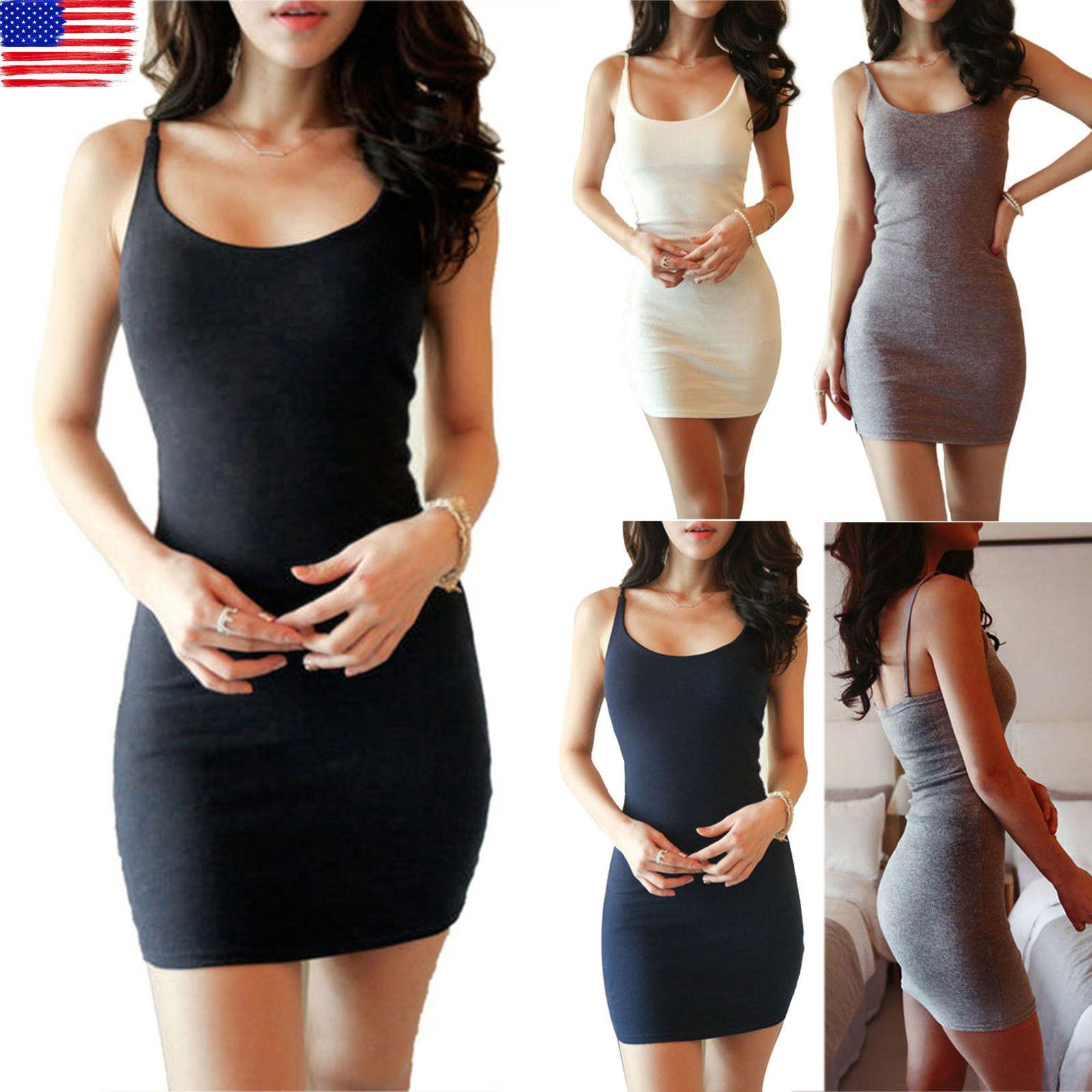 Womens Long Cami Stretch Tank Top Sleeveless T Shirt Bodycon Tunic Mini Dress Us Boho Shirt Dress Bodycon Dress Evening Mini Dresses [ 1600 x 1600 Pixel ]