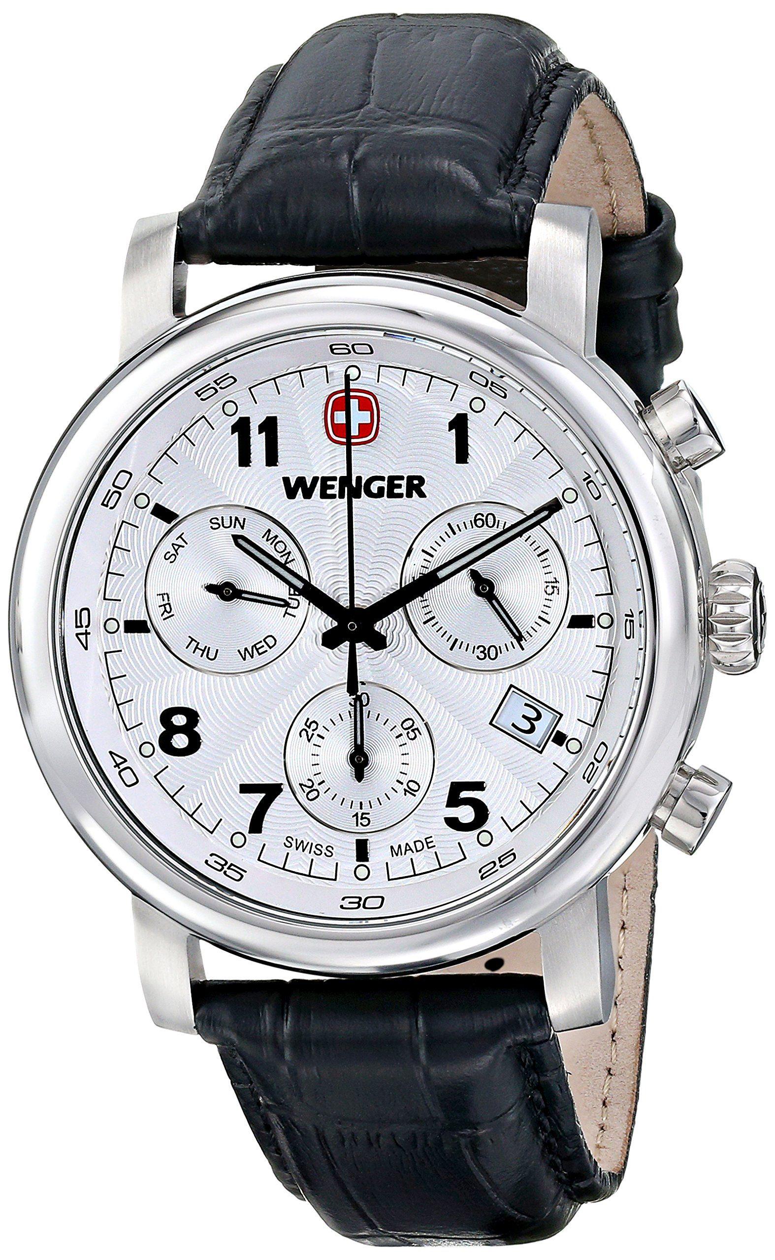 1f0e9bca660 Wenger Men s 01.1043.105 Urban Classic Chrono Analog Display Swiss Quartz  Black Watch