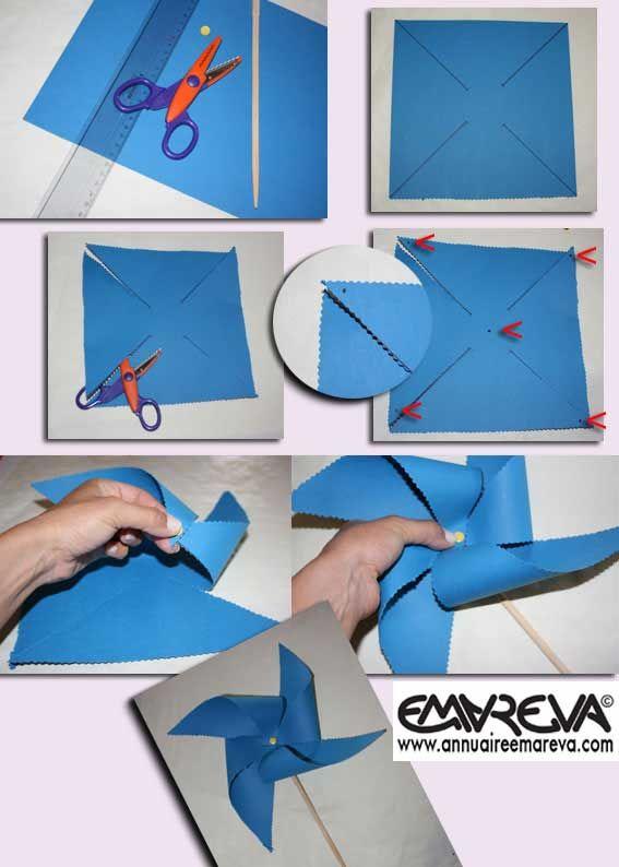 Moulin vent facile faire avec les petits animation - Comment fabriquer un moulin a vent en papier ...