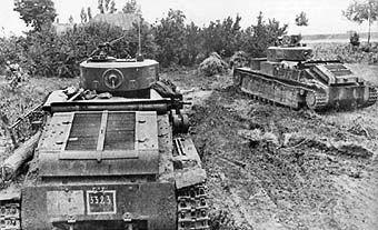 Soviet T-28 medium tanks in the field, 1941