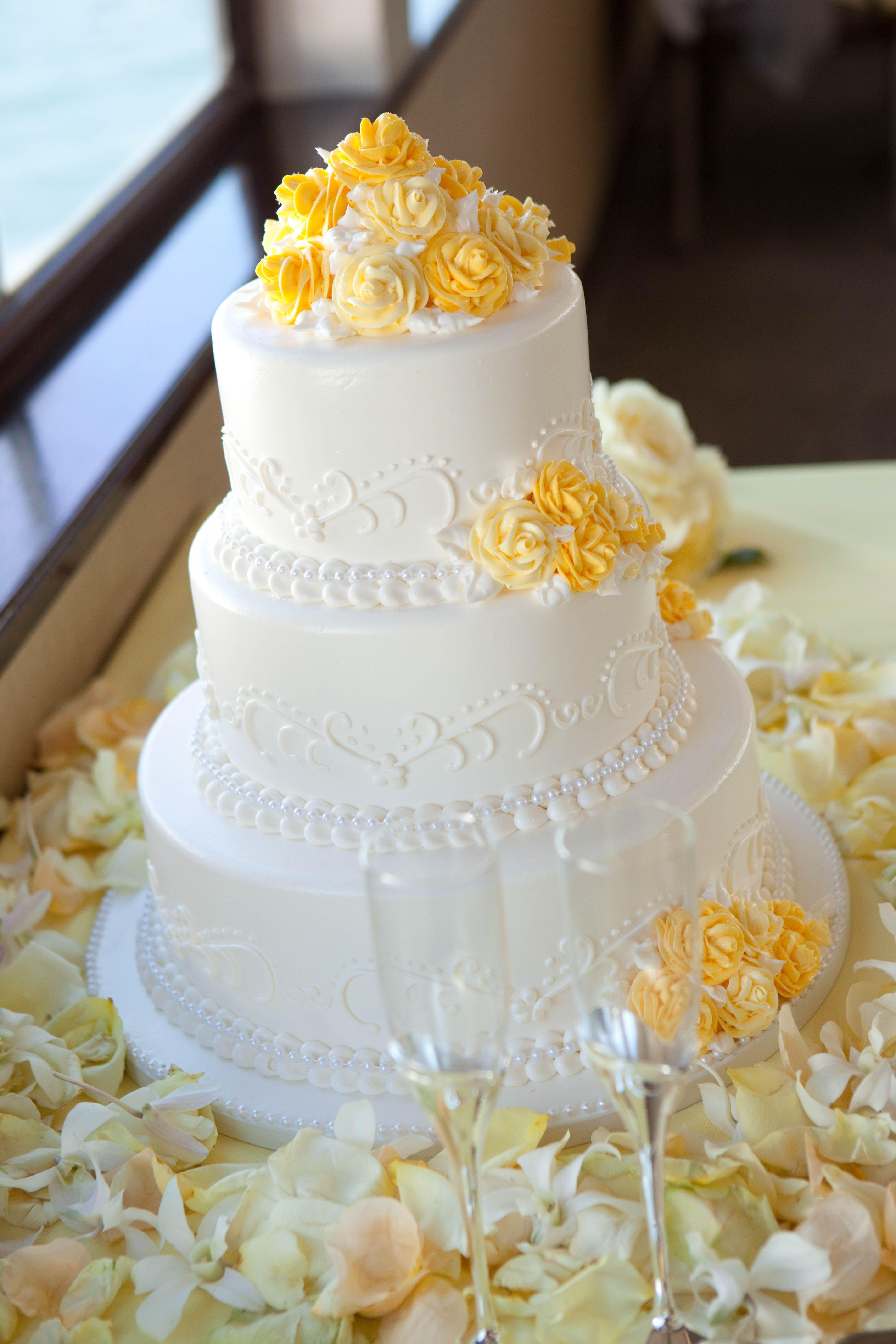 White & Yellow Wedding Cake ~ Hornblower Cruises & Events | \